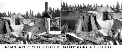 Incendio en Criolla Manuel Antonio Ledesma