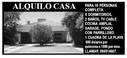 Casa para 10 personas se alquila en Parque del Plata