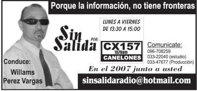 Programa Sin Salida, Radio Canelones, lunes a viernes de 1330 a 1530 horas