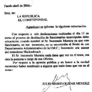 Julio Olivar Méndez: yo me equivoqué