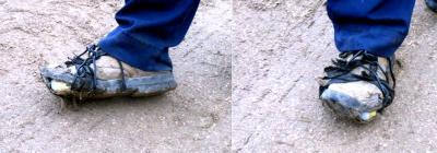 Demuestran que funcionario municipal canario, tiene el calzado atado con alambre.