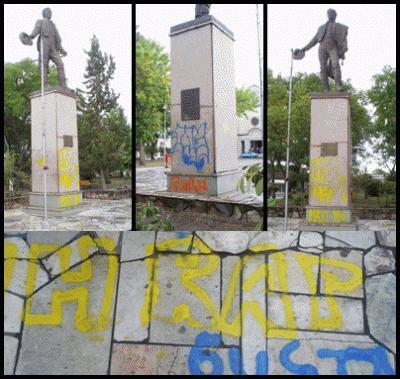 Grafitearon el monumento de Artigas y usaron el busto de Ansina para pegar chicles