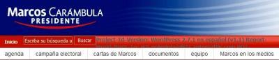 Y el Intendente que quiere ser Presidente, tiene también su página web pero con los comentarios desactivados